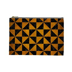Triangle1 Black Marble & Yellow Grunge Cosmetic Bag (large)  by trendistuff