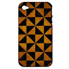 Triangle1 Black Marble & Yellow Grunge Apple Iphone 4/4s Hardshell Case (pc+silicone) by trendistuff