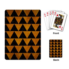 Triangle2 Black Marble & Yellow Grunge Playing Card by trendistuff