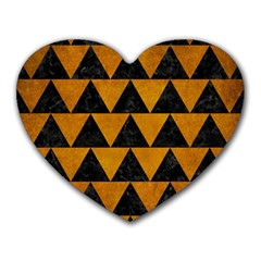 Triangle2 Black Marble & Yellow Grunge Heart Mousepads by trendistuff