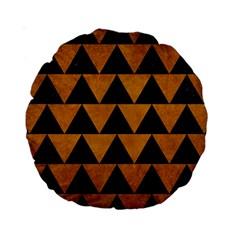 Triangle2 Black Marble & Yellow Grunge Standard 15  Premium Round Cushions by trendistuff
