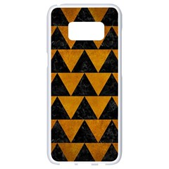 Triangle2 Black Marble & Yellow Grunge Samsung Galaxy S8 White Seamless Case by trendistuff