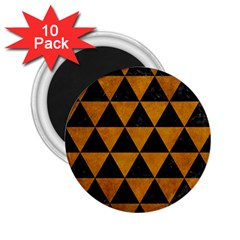 Triangle3 Black Marble & Yellow Grunge 2 25  Magnets (10 Pack)  by trendistuff