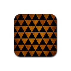 Triangle3 Black Marble & Yellow Grunge Rubber Square Coaster (4 Pack)  by trendistuff