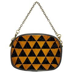 Triangle3 Black Marble & Yellow Grunge Chain Purses (two Sides)  by trendistuff