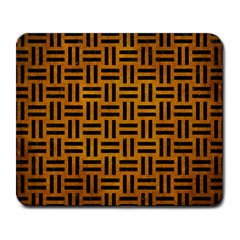 Woven1 Black Marble & Yellow Grunge Large Mousepads by trendistuff