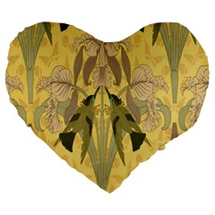 Art Nouveau Large 19  Premium Heart Shape Cushions by 8fugoso