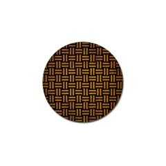 Woven1 Black Marble & Yellow Grunge (r) Golf Ball Marker by trendistuff