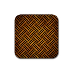 Woven2 Black Marble & Yellow Grunge Rubber Square Coaster (4 Pack)  by trendistuff