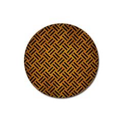 Woven2 Black Marble & Yellow Grunge Magnet 3  (round) by trendistuff