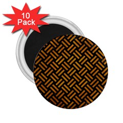 Woven2 Black Marble & Yellow Grunge (r) 2 25  Magnets (10 Pack)  by trendistuff