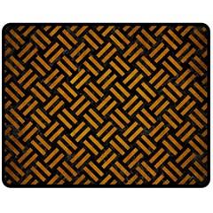 Woven2 Black Marble & Yellow Grunge (r) Double Sided Fleece Blanket (medium)  by trendistuff