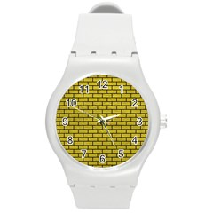 Brick1 Black Marble & Yellow Leather Round Plastic Sport Watch (m) by trendistuff