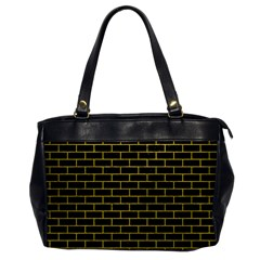 Brick1 Black Marble & Yellow Leather (r) Office Handbags by trendistuff