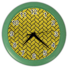 Brick2 Black Marble & Yellow Leather Color Wall Clocks by trendistuff
