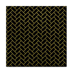 Brick2 Black Marble & Yellow Leather (r) Tile Coasters by trendistuff