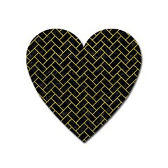 Brick2 Black Marble & Yellow Leather (r) Heart Magnet by trendistuff