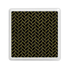 Brick2 Black Marble & Yellow Leather (r) Memory Card Reader (square)  by trendistuff