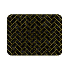 Brick2 Black Marble & Yellow Leather (r) Double Sided Flano Blanket (mini)  by trendistuff