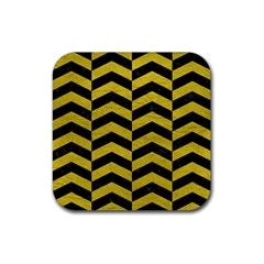 Chevron2 Black Marble & Yellow Leather Rubber Square Coaster (4 Pack)  by trendistuff