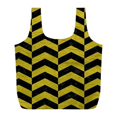 Chevron2 Black Marble & Yellow Leather Full Print Recycle Bags (l)  by trendistuff