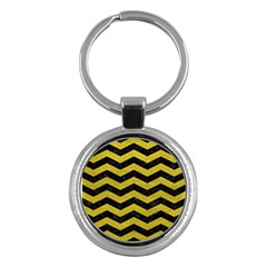 Chevron3 Black Marble & Yellow Leather Key Chains (round)  by trendistuff