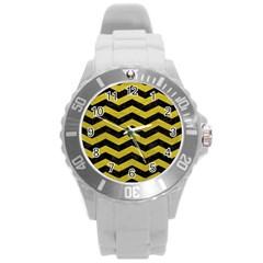 Chevron3 Black Marble & Yellow Leather Round Plastic Sport Watch (l)