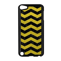 Chevron3 Black Marble & Yellow Leather Apple Ipod Touch 5 Case (black) by trendistuff