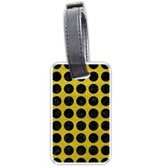 Circles1 Black Marble & Yellow Leather Luggage Tags (two Sides) by trendistuff