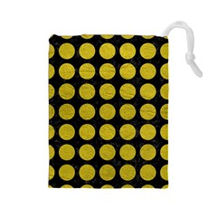 Circles1 Black Marble & Yellow Leather (r) Drawstring Pouches (large)  by trendistuff