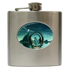 Cute Fairy Dancing On The Moon Hip Flask (6 Oz) by FantasyWorld7