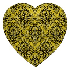 Damask1 Black Marble & Yellow Leather Jigsaw Puzzle (heart) by trendistuff