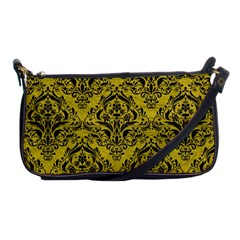 Damask1 Black Marble & Yellow Leather Shoulder Clutch Bags by trendistuff