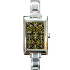 Damask1 Black Marble & Yellow Leather (r) Rectangle Italian Charm Watch