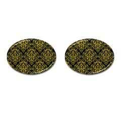 Damask1 Black Marble & Yellow Leather (r) Cufflinks (oval) by trendistuff
