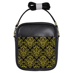 Damask1 Black Marble & Yellow Leather (r) Girls Sling Bags by trendistuff
