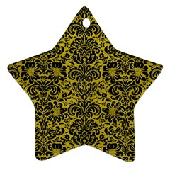 Damask2 Black Marble & Yellow Leather Star Ornament (two Sides) by trendistuff