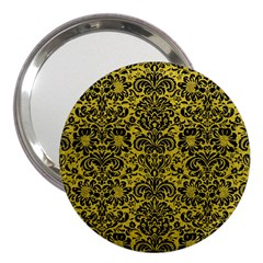 Damask2 Black Marble & Yellow Leather 3  Handbag Mirrors by trendistuff