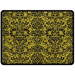 Damask2 Black Marble & Yellow Leather Double Sided Fleece Blanket (large)  by trendistuff
