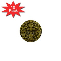 Damask2 Black Marble & Yellow Leather (r) 1  Mini Magnet (10 Pack)  by trendistuff