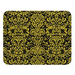 Damask2 Black Marble & Yellow Leather (r) Double Sided Flano Blanket (large)  by trendistuff