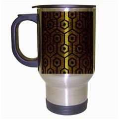 Hexagon1 Black Marble & Yellow Leather Travel Mug (silver Gray)