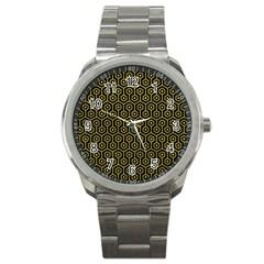 Hexagon1 Black Marble & Yellow Leather (r) Sport Metal Watch by trendistuff