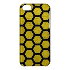 Hexagon2 Black Marble & Yellow Leather Apple Iphone 5c Hardshell Case by trendistuff