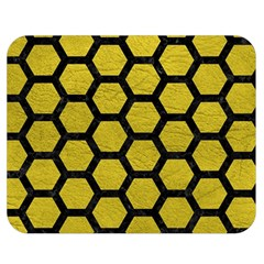 Hexagon2 Black Marble & Yellow Leather Double Sided Flano Blanket (medium)  by trendistuff