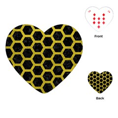 Hexagon2 Black Marble & Yellow Leather (r) Playing Cards (heart)