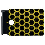 HEXAGON2 BLACK MARBLE & YELLOW LEATHER (R) Apple iPad 3/4 Flip 360 Case