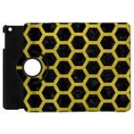 HEXAGON2 BLACK MARBLE & YELLOW LEATHER (R) Apple iPad Mini Flip 360 Case