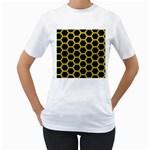 HEXAGON2 BLACK MARBLE & YELLOW LEATHER (R) Women s T-Shirt (White)