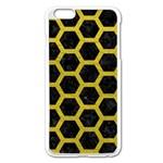 HEXAGON2 BLACK MARBLE & YELLOW LEATHER (R) Apple iPhone 6 Plus/6S Plus Enamel White Case